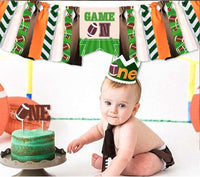 Rugby Theme Baby Boy Girl First Birthday Banner, Wild One Highchair Banner, 1st Birthday Party Decorations, Burlap Banner Crown Hat Cake Topper Set