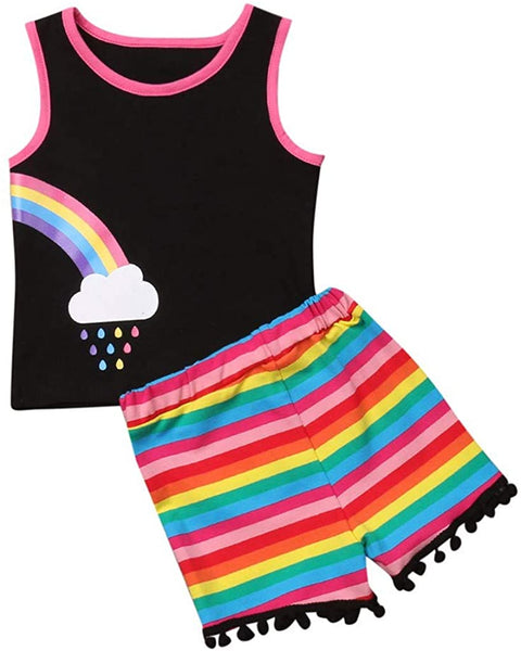 RAINED-Toddler Baby Girls Outfits Tank Tops Sleeveless Rianbow Tops Stripe Tassels Shorts Pants Outfits