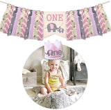 Elephant Baby Girl First Birthday Highchair Banner Decorations, Pink Elephant Banner Crown Hat Cake Topper Set, Burlap Banner Crown Hat For Photo Booth Props