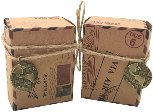 Amajoy 50pcs Vintage Inspired Airmail Favor Box Bonbonniere Kraft Paper Boxes with Globe Decor Burlap Twines for Wedding Airplane Inspired Reception or Travel Themed Events