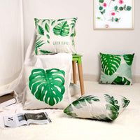Tropical Leaves Throw Pillow Cover Decorative Cotton Linen Burlap Square Cushion Cover Pillowcase for Summer Couch Home Decoration Pack of 2 18 x 18 Inch