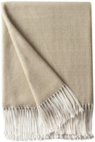 "Bourina Decorative Diamond Lattice Faux Cashmere Fringe Throw Blanket Lightweight Soft Cozy for Bed or Sofa Farmhouse Outdoor Throw Blankets, 50"" x 60"", Beige"