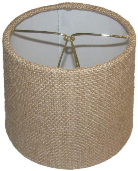 Upgradelights Six Inch Set of 2 European Drum Style Chandelier Lamp Shade Mini Shade Natural Burlap Fabric
