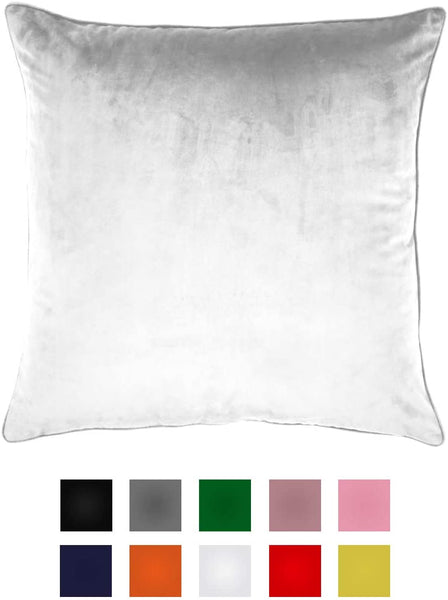 Essencea Velvet Throw Pillow Covers Set of 2 Solid Color Decorative European Shams Soft Square Pillowcases with Hidden Zipper for Sofa | Bedroom | Living Room | Car (20 x 20 Inch, Pure White)