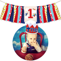 Airplane Theme Baby Boy Girl First Birthday Banner, 1st Birthday Party Decorations, Aviator Burlap Banner Crown Hat Cake Topper Set
