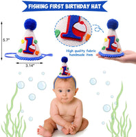 "3-In-1 Gone Fishing First Birthday Party Decorations- Little Fisherman Highchair Banner The Big One Hat O""FISH""ALLY ONE Cake Topper Bobber Baby Cake Smash Milestone Photo Booth Props Supplies"