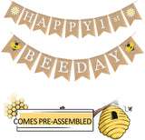 Happy 1st Bee Day Jute Burlap Birthday Banner - Baby Shower First Birthday Party - Happy Bee Day Daisy Bumble Honey Bee Party Decorations - Spring Holidays Party Supplies