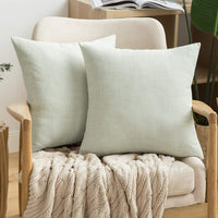 MIULEE Pack of 2 Decorative Throw Pillow Covers Linen Burlap Square Solid Farmhouse Modern Concise Throw Cushion Case Pillowcase for Sofa Car Couch 12x20 Inch 30x50 cm Grey