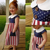 RAINED-Baby Girls 4th of July Stars Stripe Patriotic Dress Summer Party Dress Boys Girls American Flag Romper Jumpsuit
