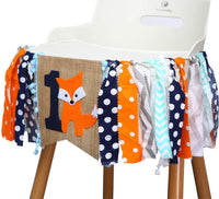 WAOUH Fox 1st Birthday for Highchair Banner - Woodland Animals for Cake Smash Party,First Birthday Decorations for Photo Booth Props,Birthday Souvenir and Gifts for Babys (Fox 1ST Birthday)