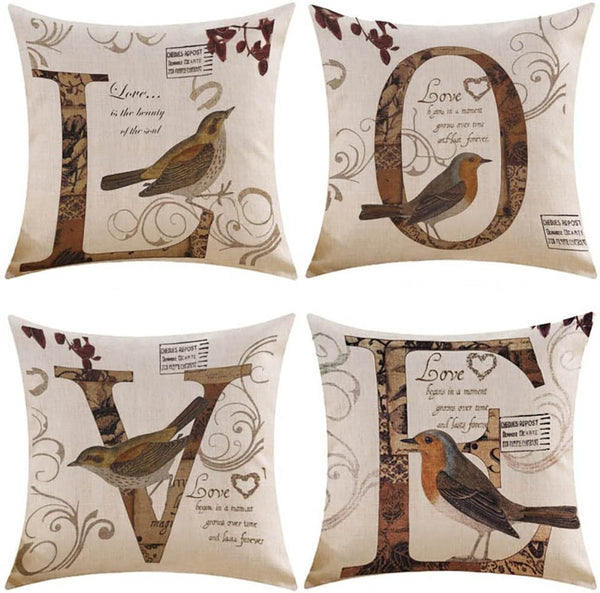 MIULEE Pack of 4 Decorative Birds'LOVE Pillow Cover Antique Style Vintage Cotton Linen Burlap Square Throw Cushion Cover Cushion Case for Sofa Bedroom Car 18 x 18 Inch 45 x 45 cm