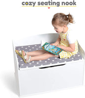 Milliard Wooden Toy Box and Storage Chest with Seating Bench - for Kids and Babies – Girls and Boys - White - Large