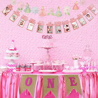 GoodYH 1st Birthday Decorations for Girl |1st Birthday ONE High Chair Banner | First Birthday Cake Topper | First Birthday Month Photo Banner | Princess & Flower Shape Birthday Party Banner