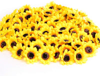 "KINWELL 100pcs Mini Artificial Silk Yellow Sunflower Heads 1.8"" Fabric Floral for Home Decoration Wedding Decor, Bride Holding Flowers,Garden Craft Art Decor"