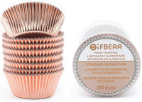 Gifbera Rose Gold Foil Cupcake Liners Standard Muffin Wrappers Baking Cups for Christmas Birthday Wedding, 200 Count
