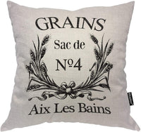 Moslion Throw Pillow Cover Grains Aix Les Bains 18x18 Inch Wheat Bowknot French Sack Burlap Square Pillow Case Cushion Cover for Father's Day Home Car Decorative Cotton Linen