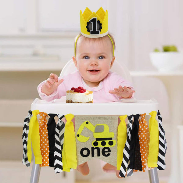 ZITA ELEMENT 1st Birthday Boy Decorations - Chair Banner, Crown, Cake Topper