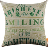 "LINKWELL 18""x18"" St. Patrick's Day Green Burlap Throw Pillow Case Seat Cushion Cover CC1242"
