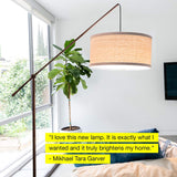 Brightech Hudson 2 - Contemporary Arc Floor Lamp Stands Up Over The Couch from Behind - Hanging Pendant Light, Alexa Compatible - Mid Century Modern Living Room Lamp - W. LED Bulb - Oil Rubbed Bronze