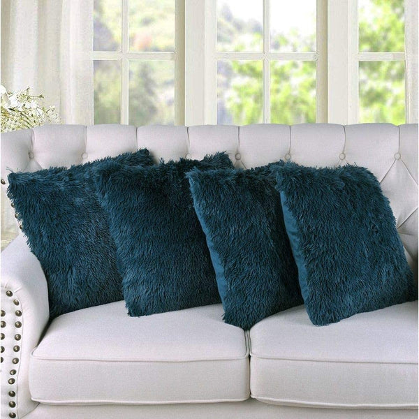 Shaggy Faux Fur Decorative Throw Pillow Cover 20 x 20 Solid Color Teal Blue Zipper Closure Square Throw Pillow Cover Set Glam Bedding Set All Seasons Furry Fuzzy Plush Sheen Bed Room Decor