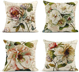 ArtSocket Set of 4 Linen Throw Pillow Covers Vintage Spring Flower Burlap Toss Beige Decorative Pillow Cases Home Decor Square 18x18 inches Pillowcases