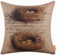 "LINKWELL 18""x18"" Vintage Bird Nest Design Burlap Pillow Cover Cushion Cover CC1489"