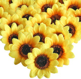 "XYXCMOR Silk Sunflowers Heads 50pcs 2.8"" Sunflowers Artificial Flowers Gerber Daisies Flores Petals for Wreath Wedding Party Fall Craft Decorations Yellow"