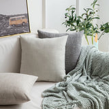 MIULEE Pack of 2 Decorative Linen Burlap Pillow Cover Square Solid Throw Cushion Case for Sofa Car Couch 18x18 Inch 45x45 cm Taupe