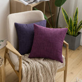 MIULEE Pack of 2 Decorative Throw Pillow Covers Linen Burlap Square Solid Farmhouse Modern Concise Throw Cushion Case Pillowcase for Sofa Car 16''x16'', Lavender
