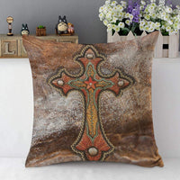 "Mugod Cross Pillow Cover Tooled Leather Western Decor Turquoise and Brown 18""x 18"" Soft Square Cotton Linen Pillow Case Cushion Cover Home Decorative for Men Women Boys Girls"