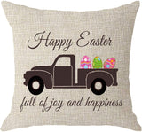 NIDITW Sister Gift Happy Spring Seasons Greeting Happy Easter Full of Joy and Happiness Colored Eggs Truck Burlap Throw Pillow Cover Pillow Case Sofa Couch Decorative Square 18x18 Inches