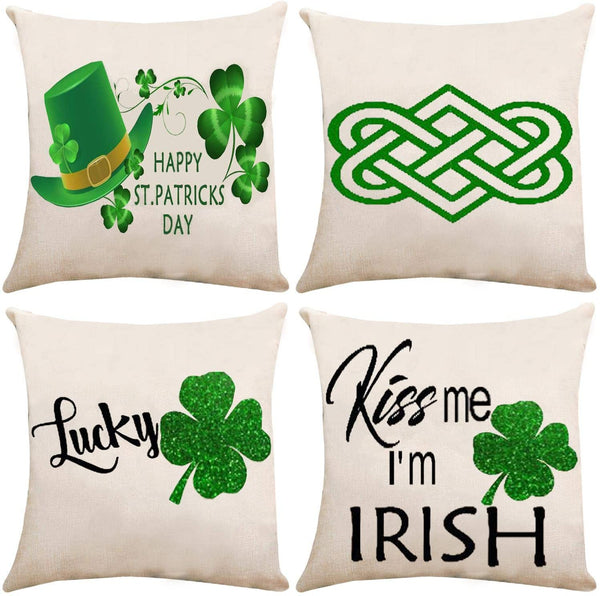 ZUEXT Happy St. Patrick's Day Throw Pillow Covers 18x18 Inch Double Sided, Set of 4 Lucky Green Shamrock Clover Hats Cotton Linen Burlap Cushion Cover Outdoor Pillowcase for Sofa Car Chair Home Decor