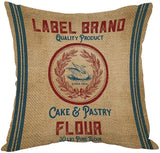 Moslion Vintage Burlap Pattern Like Flour Sack Pillow,Home Decorative Throw Pillow Cover Cotton Linen Cushion for Couch/Sofa/Bedroom/Livingroom/Kitchen/Car 18 x 18 inch Square Pillow case