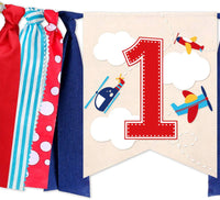 Airplane High Chair Banner Decorations Kit - Airplane Highchair Banner, Crown Hat With One Cake Topper for Vintage Airplane Theme Baby Shower 1st Boy Birthday Party Supplies
