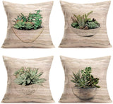 "Smilyard Vintage Bird Throw Pillow Covers Bird's Nest Dragonfly Decorative Throw Pillow Case Animal Cotton Linen Square Pillow Covers 18""X18"" Set of 4"