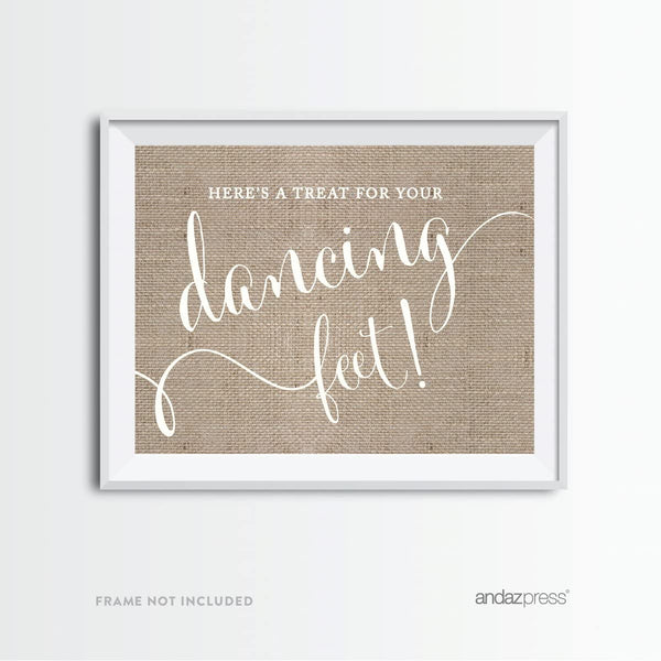 Andaz Press Wedding Party Signs, Country Chic Burlap Print, 8.5x11-inch, Here's a Treat for Your Dancing Feet! Flip Flop Sandals High Heels Shoes Dance Floor Reception Sign, 1-Pack