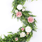 Artiflr Artificial Vines Faux Eucalyptus Garland, 2 Pack Fake Eucalyptus Greenery Garland Wedding Backdrop Arch Wall Decor, 6 Feet/pcs Fake Hanging Plant for Table Festival Party Decorations