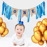 1PCS Baby 1st Birthday Decorations with Crown, Happy Birthday One Burlap Banner, for High Chair Decoration (Boy/Girl)