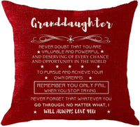 NIDITW Granddaughter with Inspirational Words Never Doubt That You are Valuable and Powerful Red Burlap Throw Pillow Cover Cushion Case for Sofa Decorative Square 18 Inches