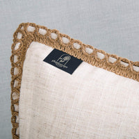 Phantoscope Pack of 2 Farmhouse Decorative Throw Pillow Covers Burlap Linen Trimmed Tailored Edges Off White 18 x 18 inches, 45 x 45 cm