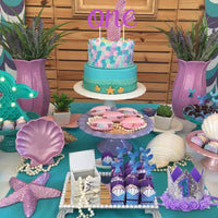 Ecore Fun First Birthday Decorations Party Supplies for Baby Girls, High Chair ONE Burlap Banner + NO.1 Crown + ONE Cake Topper - Mermaid Theme