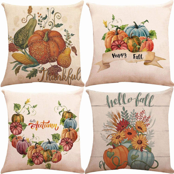 ZUEXT Fall Pillow Covers 18x18 inch, Set of 4 Cotton Linen Burlap Hello Autumn Pumpkin Throw Pillow Cases for Fall Decor Farmhouse Fall Decorations Thanksgiving Halloween Decorative Pillow Cover