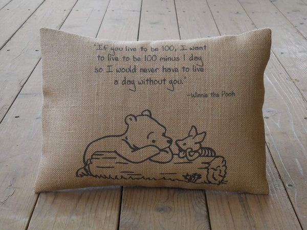 alerie Sassoon Pooh Quote Burlap Pillowcase Cushion Live a Day Without You Wedding Farmhouse Pillowcase Cushions Love