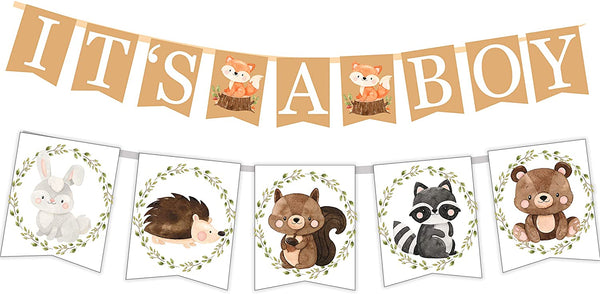 Woodland Creatures ITS A BOY Banner for Baby Shower + Fox, Raccoon, Rabbit, Bear, Squirrel and Porcupine/Animals Themed Decorations