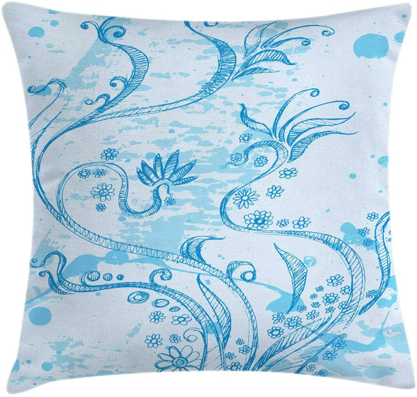 "Ambesonne Floral Art Throw Pillow Cushion Cover, Monochromatic Style Hand Sketched Flower Composition on Grunge Background, Decorative Square Accent Pillow Case, 16"" X 16"", Baby Blue"
