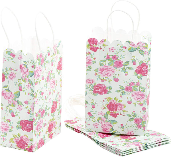 Paper Gift Bag - 24-Pack Vintage Floral Party Favor Bags, Paper Treat Bags for Weddings, Pink Rose Design, 5.3 x 8.5 x 3.1 Inches