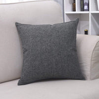 Bursonvic Throw Pillow Case Cushion Cover, Linen Burlap Home Farmhouse/Modern Decorative Square Solid Pillow Cover for Sofa/Couch/Bed (20 x 20 Inches, Dark Gray)