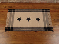 Black Simply Stars Plaid Border 24 x 42 Inch Heavy Woven Cotton Floor Mat Rug