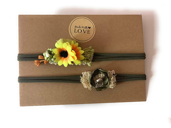 Handmade fall newborn tieback headband set sunflower photography props organic singed flower crown baby girl prop