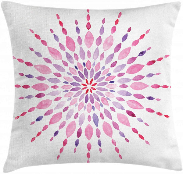 "Ambesonne Pink Mandala Throw Pillow Cushion Cover, Watercolor Folk Oriental Old Hipster Boho Tattoo, Decorative Square Accent Pillow Case, 16"" X 16"", Baby Pink Plum"